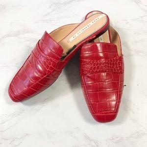 NWT Zara Red Faux Lather Croc Flat Mules 8